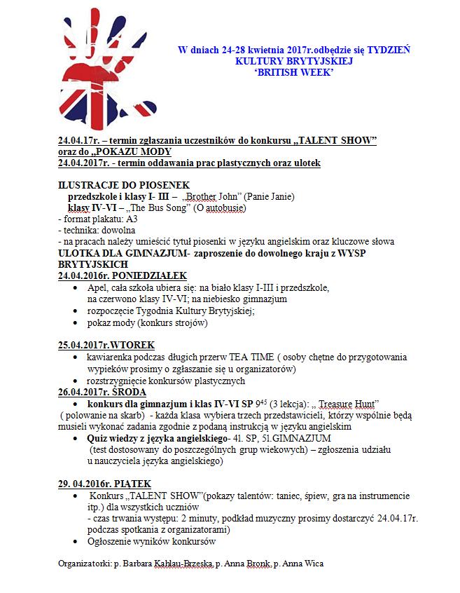 plan tydzień kultury brytyjskiej